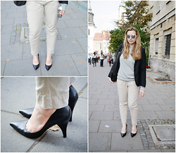 Mary Kate K. - Nine West Pumps, Polo Ralph Lauren Pants, F&F Grey Sweater, Zara Sunnies, Gap Blazer - Cloudbusting