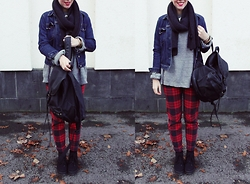 Vera G - Vanilia Jeans, Asos Denim Jacket, Office Shoes, Cheap Monday Scarf - I couldn't care less - checks