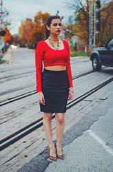 Harmeet B - Kundan Paraas Red Satin Crop, Club Monaco Black Leather Skirt, Nine West Leopard Heels  Gamin - Fresh.