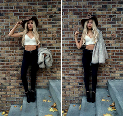 Taylin Elisa Yasmin Katharina - Brandy Melville Usa Crochet Crop Top, Forever 21 Hat, Topshop Faux Fur Coat - West coast dreaming