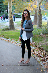 Pam Hetlinger - Tinley Road Blazer, Topshop Shirt, Joe's Jeans - A Walk in Central Park
