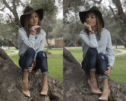 Giuliana ♡ - Express Boyfriend Jeans, Express Denim Shirt, Lola Nude Pumps, Zara Hat, Cartier Love Bangle - Crossing the Line