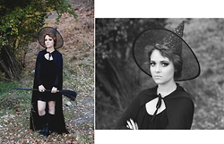 Alexandra J - Gold Starred Witch Hat, Black Cape, Black Dress With Sheer Sleeves, Tall Black Boots With Gold Details - Witching hour