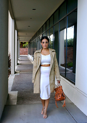 Marina Hidalgo - Ami Clubwear 2 Piece Set, Romwe Trench Coat, Oasap Cutout Bag, Justfab Heels - Channeling Mrs. West
