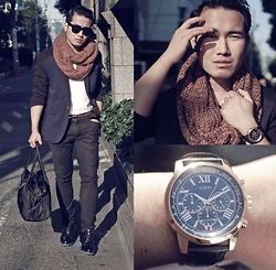 KIKO CAGAYAT - Guess? Blue Print, Guidomaggi Paris Elevator Shoes, Milanoo Men's Casual Blazer, Uniqlo Pants, Uniqlo Basic White Shirt, H&M Muffler, Calvin Klein Duffle Bag - GUESS? WATCHES