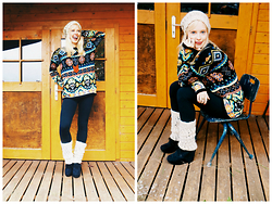 Signe Savant - Oasap Tribal Print Sweater, Deb Wedge Booties, Swallow's Heart Leather Chevron Necklace - Dressed for winter...