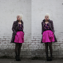 Hannah Riley - Erin Fetherston Dress, Free People Coat, Saint Laurent Wedges - Hot Pink