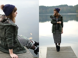 L T - Marie Lund Beanie, Only Parka, Vila Dress - The fisherman's friend
