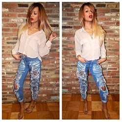 RAY RAY - Route 66 Vintage Destroyed Jeans, Love Stitch Sheer Top, Nine West Tan Heels - Shades of Beige // Look 1