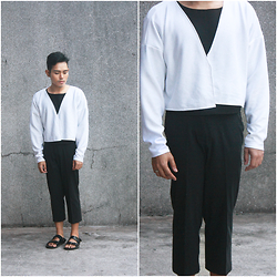 Karl Philip Leuterio - Ninthsheep Scuba Cover Up, Ninthsheep Neoprene Tee, Thrifted Crop Trousers, Rusty Lopez Mandals - Covered