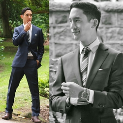 James Wong - Suit Supply Dark Navy, The Frye Company Brown Leather Shoes, Nando's Napkin - Dark Navy Suit Up!