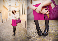 Jessica D - Asos Skirt, Claudie Pierlot Flats, Marc By Jacobs Bag - Pink Lady