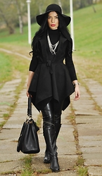 Laura Veronica - Humanic Boots, River Island Bag, H&M Hat, Sheinside Cardigan - Back to black