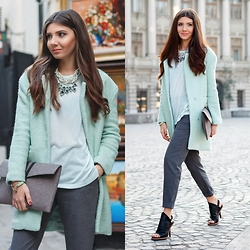 Larisa Costea - Jessica Buurman Heels, Frontrowshop Pants, Frontrowshop Jumper, Sheinside Coat, Fashionyoulove.Ro Necklace - Grey and minty