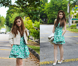 LiTing Tey - Zara Dress, My Design Jacket, Charlesandkeith Shoes - Green Garden