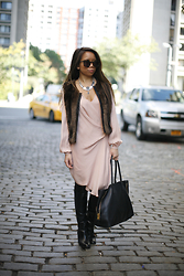 Tiffany Lee - Haute Hippie Dress, Sanctuary Vest, Schutz Boots, Tom Ford Bag - The Asymmetrical Dress
