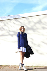 Vee Vee - Forever 21 Navy Roll Neck Knit Jumper, Primark White Skater Skirt - Morning blues