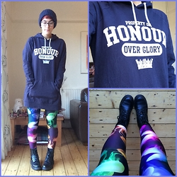 Eleanor Hamed - Topshop Beanie, Dr. Martens Serena 8 Eyelet Boots, Black Milk Clothing Jellyfish Rainbow Leggings, Honour Over Glory Hoody Dress - Somewhere over the rainbow