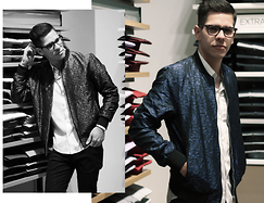Danh Lastra - Ray Ban Wayfarer, Zara Blue Bomber, H&M White Shirt, Zara Animal Black Print Pants - EXPRESS NIGHT OUT