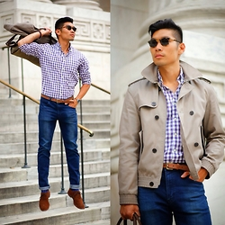 Leo Chan - Navali Briefcase, Allen Edmonds Suede Wingtips, H&M Trench Jacket, J. Crew Purple Gingham - Fall Style - Purple Gingham