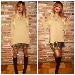 RAY RAY - Express Tricot Camel Sweater, H&M Metallic Skirt, Baker's Knee High Boots - Shades of Beige // Look 3