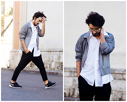 Charlie Cole - Asos Grey Bomber Jacket, H&M White Shirt, Zara Black Chinos, Nike Free Run 5.0 - STAY HIGH