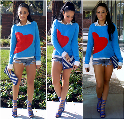 Marina Hidalgo - Target Sweater, Romwe Distressed Denim Shorts, Shoedazzle Strappy Heels, Forever 21 Chevron Clutch - Shades Of Blue