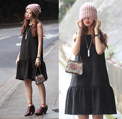 Mayo Wo - Frontrowshop Beanie, Initial Perfume Necklace, Frontrowshop Faux Fur Dress, The Layers Sheer Socks, Miista Anais Wine Booties - Flapper learns to rock