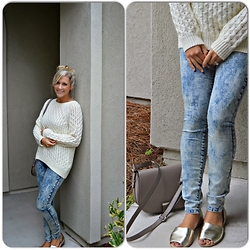 Jennifer Therese - Acid Reign Wash Denim, H&M Creme Sweater, H&M Taupe Saddle Bag, Dsw Gold Open Toed Flats - Sweater & Acid Wash Jeans.