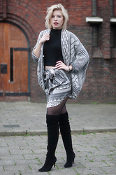 Rowan Reiding - Zara Paisley Shirt Scarf Print Blouse Silk Worn As Skirt Diy, Mai Piu Black Suede Over The Knee Boots Overknee Thigh High, Zara Heavy Knit Oversized Chunky Knitted Cardigan, Asos Turtleneck Crop Top Knitted Cropped Top - FROM SHIRT TO SKIRT