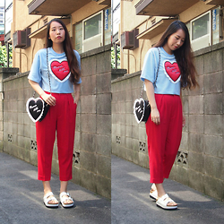 Yu Kuwabara - G.V.G.V. Velour Relax Tee W/Heart, G.V.G.V. Chiffon Pants, G.V.G.V. Cushion Heart Bag, Nine Belt Sandals - Light Blue and Red