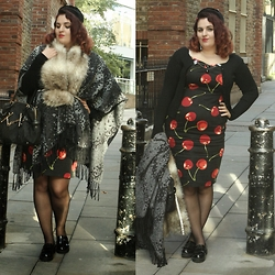 Jodie Marie Davey - Collectif Dress, Next Cape, Linzi Loafers, New Look Faux Fur Scarf, Vintage Hat, Gucci Bag, Ella Mobbs Cardigan Clips, New Look Belt, Voodoo Vixen Cardigan, Primark Stockings - Layered cherry dress