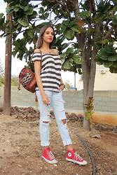 Nina Plavnik - Juicy Couture Striped Off The Shoulder Top, Zara Ripped Jeans, Converse Red High Tops, Present Tribal Backpack, From My Sister Gold Thin Hoops - Hideaway