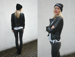 Janine - Urban Outfitters Beanie, Zara Leather Jacket, Cheap Monday Jeans - Homies