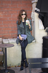 Christina Oh - Chanel Bag, Christian Dior Sunglasses, J Brand Jeans, Tibi Shoes, Balmain Jacket - AUTUMN AT STARBUCKS