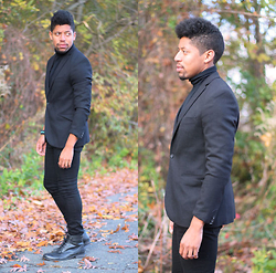 Bryce Lennon Lennon - Forever 21 Blazer, Kohls Turtleneck, River Island Jeans, Studio Ink Wingtip Oxfords - UnregisteredStyle