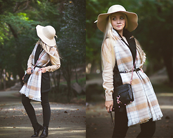 Olga Choi - Woolovers Cashmere Sweater, Choies Floppy Hat, Younghungryfree Vest, H&M Plaid Check Scafr, Rebecca Minkoff Mac Mini Bag, Tommy Hilfiger Jeans - Autumn layering