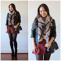 Kimberly Kong - Charlotte Russe Scarf, Boohoo Jacket, Billie + Betty Skirt, Chanel Bag, Johnston & Murphy Boots - The Plaid Mini