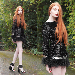 Olivia Emily - Opulence England Black Sequin & Feather Trim Shift Dress, Unif Pyre Heels - Glitterball.