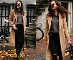 Bea G - Coat, Sweater, Jeans, Boots, Bag, Sunglasses - Amsterdam Rush