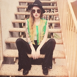 Sally S - Vintage Beaded Vest, Ebay Round Sunglasses, Ebay Flat Brim Hat, Lip Service Bell Bottoms - Boho Bliss