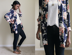 Joselyn D. - Thrifted Crossover Handbag, Thrifted Floral Kimono, Op White Tank, Thrifted Watch Necklace, Marshalls Blue Skinny Jeans, Ross Tan Flats - Floral
