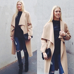 Somehappyshoes - Zara Woolcoat, Hugo Boss Heels, H&M Ripped Denim - A fall for camel
