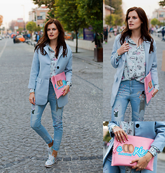 Viktoriya Sener - Sheinside Coat, Sheinside Shirt, Sheinside Jeans, Chic Wish Brogues, Bershka Clutch - COTTON CANDY