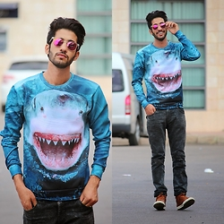 HAMID KHOUYI - Choies 3d Unisex Shark Print Sweatshirt, Giantvintage - SHARK ATTACK