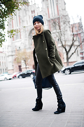 Aliona Gluhih - Zadig & Voltaire Peacoat, Zadig & Voltaire Beanie, Zadig & Voltaire Leather Pants, Isabel Marant Boots, Givenchy Bag - The Military Peacoat
