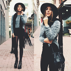 Alison Liaudat - Urban Outfitters Hat, Brandy Melville Usa Short, Maje Fringed Bag, Underground Creeper Wedge, Michael Kors Watch - MORNINGSIDE