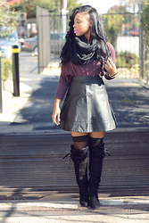 Chaunie G - Bcbg Sweater, Bebe Leather Skirt, Nordstrom Thigh High Stockings, Bakers Knee High Suede Boots - Barbie Boots and Leather Skirt