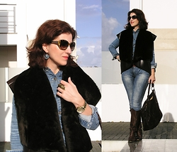 Teresa Leite - Tany Couture Self Made Shearling Vest, Parfois Blue Earrings, Zara Tortoise Sunnies, Zara Brown Tall Leather Boots (Old), Guess? Golden Watch, Zara Denim Jacket (Old) - Denim and Shearling (self-made vest)