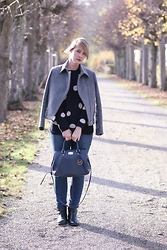 Sina P. - Massimo Dutti Jacket, Oui Dotted Sweater, Michael Kors Bag, Victoria Beckham Jeans, Buffalo Boots, Lancome Lipstick - Never stop dreaming